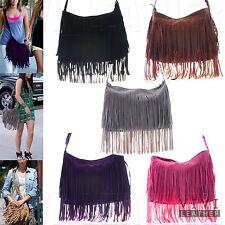 Women's Faux Leather Casual Trendy Large Suede Tassel Crossbody Fringe Bag Purse