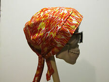 Red with Flames Skull Cap Do Rag w/Sweatband. MADE IN USA!!!