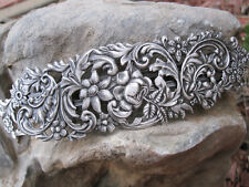 "Large Antiqued Silver Plated Brass  Thick Hair Barrette 4 5/8"" Made in USA 6012S"