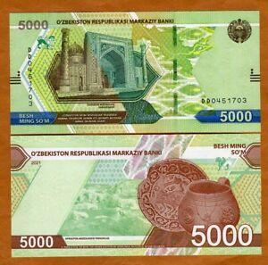 Uzbekistan, 5000 Sum, 2021, P-New, UNC > Completely Redesigned