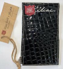 iliac Golf Yardage Book Cover Black Leather Patent Croc Design USA Made PGA New
