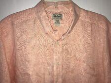 L.L. Bean Mens LINEN Shirt Large Short Sleeve Orange Gingham Check Button Front