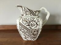 Antique large ceramic jug/pitcher with floral and gilt design by Harvard