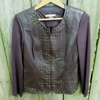 PETER NYGARD Womens Small Jacket Genuine Leather & Stretch Knit Brown Studs Zip