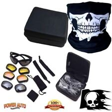 Motorcycle Glasses Goggles Sunglasses UV400 Carry Case & Skull Face Mask & Decal