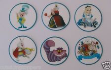 12 PRE CUT ALICE IN WONDERLAND EDIBLE RICE WAFER PAPER CARD CUPCAKE  TOPPER