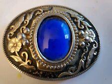 Belt Buckle Blue Sapphire Vintage Nickle Plated Some Wear
