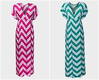 New Long Chevron Teal / Pink V-Neck Stretch Maxi Dress Size 8 10 12 14 16 18 20