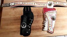 2 Authentic Vintage Tonto Toy Cap Gun Pistol Belt & Plastic Lone Ranger Holsters