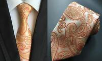Orange Tie Paisley Patterned Handmade 100% Silk Wedding Necktie