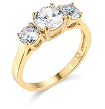 1.70 Ct Round Cut 3-Stone Past Present Future Ring Real Solid 14K Yellow Gold