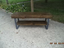 industrial wood and steel bench 5' with shelve, bench, wooden bench, steel legs,