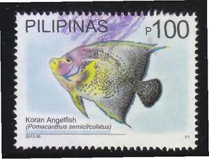 PHILIPPINES 2012 MARINE BIODIVERSITY KORAN ANGELFISH 100 PESO HIGH VALUE 1 STAMP