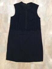 Next Tailoring Black Sleeveless Formal Dress Lace Collar Smart Workwear Size 14
