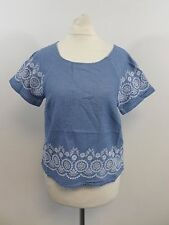 Jack Wills Colman Broderie Top Blue Size UK 8 RRP £44.50 Box46 58 C