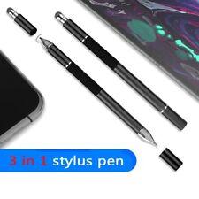 Universal 3 in 1 Capacitive Stylus Pen w/ Disc Tip & Fiber Tip & Ballpoint Pen