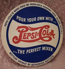 "**RARE VINTAGE USA(LONG ISLAND CITY,NY) ""PEPSI:COLA 2-DOT COASTER"" EXCELLENT NOS"