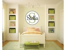 """Custom Dotted Circle Initial Name Monogram Wall Decal #2 22"""" Tall"""