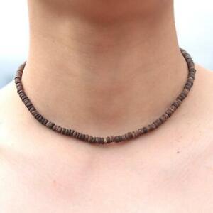"Surfer/Casual Wear Men's Choker Wooden Beaded Coconut Shell Necklace Length ""18"""