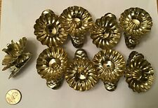 """Lot 9 Metal Clip-On Christmas Tree Candle Holders 1 3/4""""-2"""" brass gold tone"""