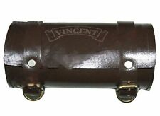 Vintage Brown Leather Tool Bag Roll With Vincent Logo Engraving Customized S2u