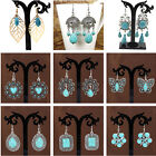 Boho Beach Vintage Green Turquoise Dangle Tassel Hook Earrings Women Jewelry