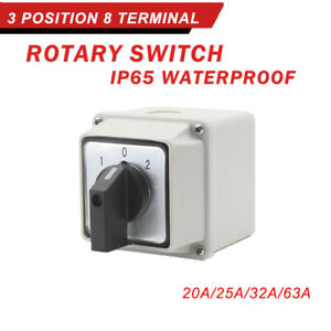LW26-20-63 32A 3-Position Rotary Selector Universal Rotary Cam Changeover Switch
