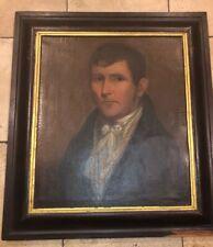 Oil Canvas Antique 19th C painting Gentleman portrait Primitive Early
