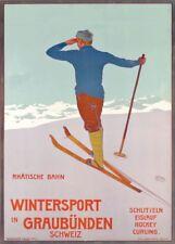 Vintage Ski Posters WINTERSPORT IN GRAUBUNDEN, Swiss, 1906, A3 Travel Print