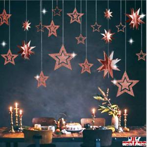 New 3D Gold Stars Hanging Ornaments Party Home shop Decorations 7PCS UK