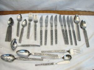 Vintage Riviera Stainless Steel Japan Flatware Monterey Pattern 44 pc svc for 8