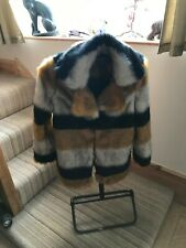 Biba faux fur striped coat new without tags size 10/12