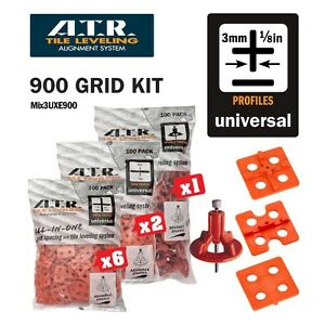 ATR TILE LEVELING SYSTEM Qty 900 PIECES 3mm Universal KIt