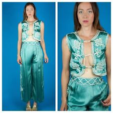 Incredible Vtg c. 1920s Flapper Pajamas Teal + Ivory Braided Trim Matador Xs/S