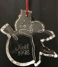 Baccarat Crystal Snowman & Kid Hanging Christmas Ornament Noel 1998 Signed