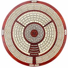 Round Shape 3 Tracks Continuous Cribbage Board in Bloodwood+Skunks & Corners 10""