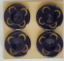 """Vintage Buttons - 4 Black Carved Round Center Casein 7/8"""" 2-hole Buttons - Czech"""