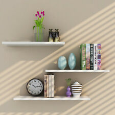 Perfect Pack of 3 Floating Wall Shelf Wooden Shelves Wall Storage 80cm - White