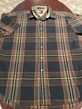VTG Tommy Hilfiger Plaid Checkered L/S Linen Cotton Button Down Mens Shirt Large
