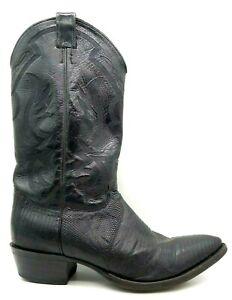 Justin Black Lizard Skin Cowboy Western Boots Shoes Men's 11 D