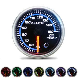 """2"""" 52mm Universal Car Oil Temp Temperature Gauge 7 Colors LED Display w/ Sensor"""