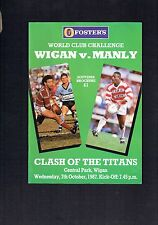 #VV4. 1987  WIGAN V MANLY WORLD CUP CHALLENGE   RUGBY LEAGUE  MAGAZINE
