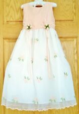 Girls Embroidered Party Dress ~ Weddings ~Portrait ~Flower Girl~ Peach