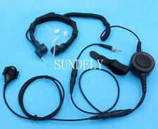 Military Throat Mic Headset/Earpiece For Uniden Handheld VHF Marine Radio