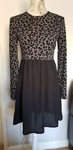 Boohoo Black Grey Leopard Print Skater Dress Size 8