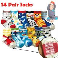 14 Pairs Baby Boys Girls Kids Anti-slip Cartoon Cotton Socks 1-3Years Soft Sock