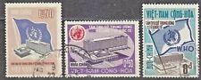 South VIETNAM  1966 used SC#291/93 set,  Opening of WHO Headquarters, Geneva.