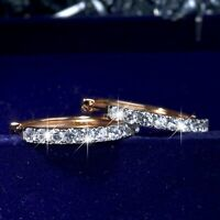 18k yellow white gold 2-tone made with SWAROVSKI crystal hoop huggies earrings