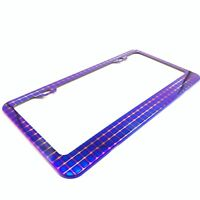 x1 Universal PURPLE Stainless Steel License Plate Frame With 2 Plastic Screw Cap