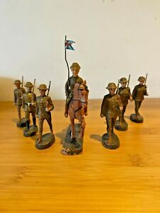 ELASTOLIN VINTAGE COMPOSITION BRITISH INFANTRY SOLDIERS c1920 MADE IN GERMANY
